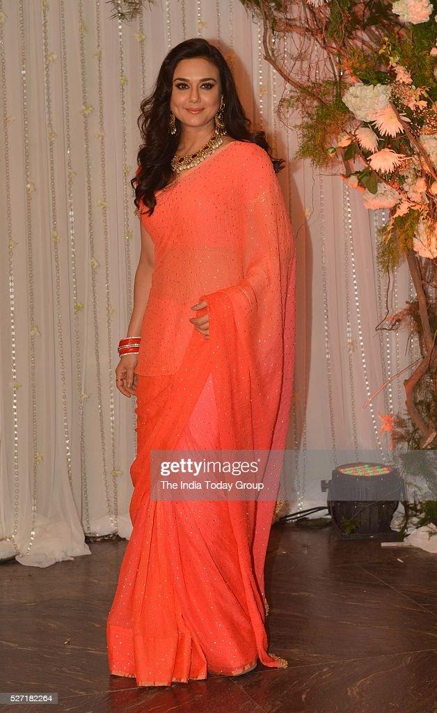Preity Zinta at Bipasha Basu and Karan Singh Grovers wedding reception ceremony at St Regis Hotel in Mumbai