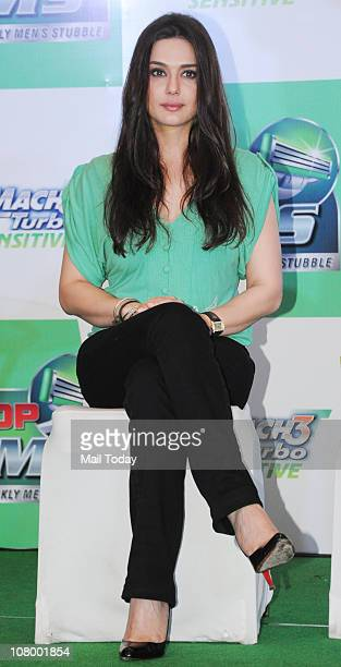 Preity Zinta at the Gillette Mach3 Turbo Sensitive 'Stop PMS' campaign in Mumbai on January 11 2011