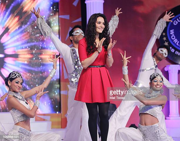 Preity Zinta at the press meet for the Guinness World Records India Todega show for Colors at the Taj Land's End