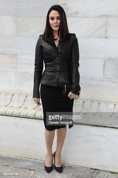 Preity Zinta attends the Roberto Cavalli fashion show during Milan Fashion Week Womenswear Fall/Winter 2013/14 on February 22 2013 in Milan Italy