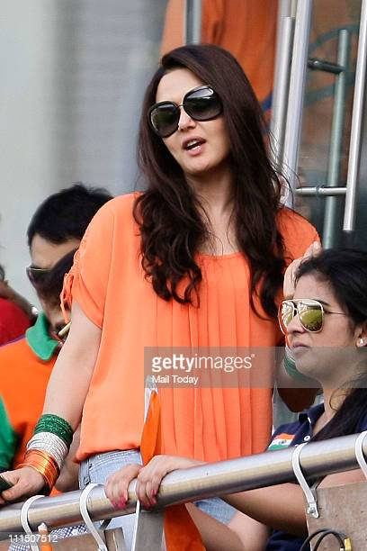 Preity Zinta cheering for Team India during the ICC Cricket World Cup final between India and Sri Lanka at Wankhede Stadium in Mumbai on April 2 2011