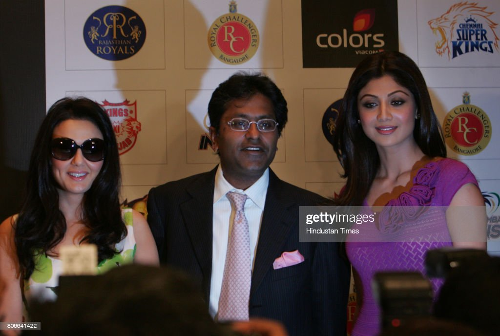 Preity Zinta Lalit Modi and Shilpa Shetty for announcement of IPL adds Colours Fear Factor Khatron Ke Khiladi in Mumbai on Friday