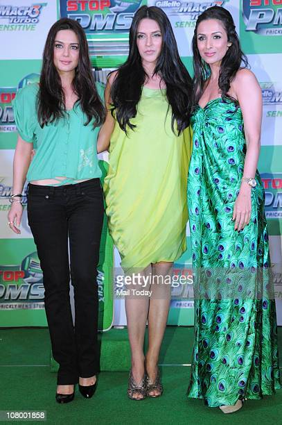 Preity Zinta Neha Dhupia and Malaika Arora Khan at the Gillette Mach3 Turbo Sensitive 'Stop PMS' campaign in Mumbai on January 11 2011