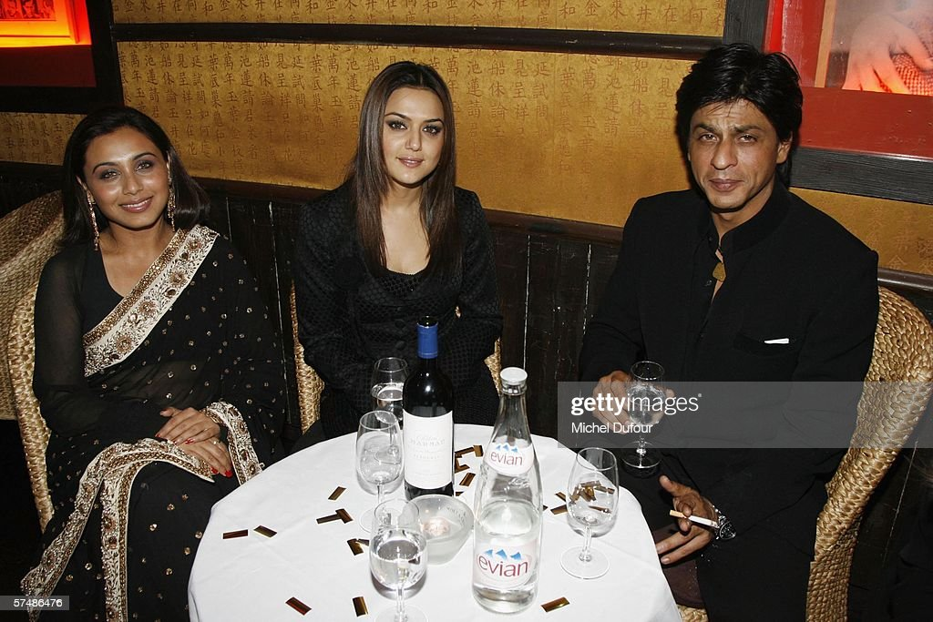 Preity Zinta Shahrukh Khan and Rani Mukerji attend the `Veer Zaara` film premiere after party at Le Grand Rex in the Mandalaray on April 26th 2006 in.
