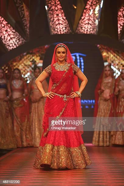 Preity Zinta walks the runway at the Birdhichand Ghanshyamdas Jewellers show during Day 4 of the India International Jewellery Week at the Grand...