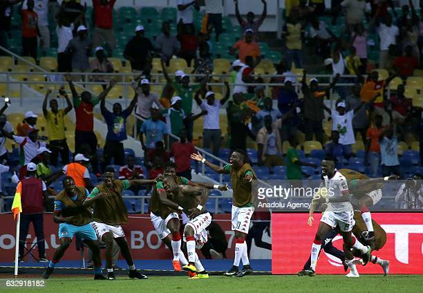 Prejuce Nakoulma of Burkina Faso celebrates after scoring a goal during the 2017 Africa Cup of Nations quarterfinal football match between Burkina...