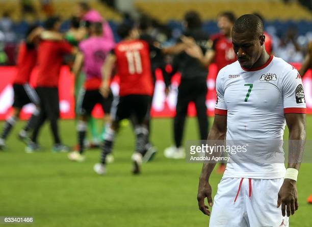 Prejuce Nakoulma of Burkina Faso gets upset after the 2017 Africa Cup of Nations semifinal football match between Burkina Faso and Egypt at the Stade...