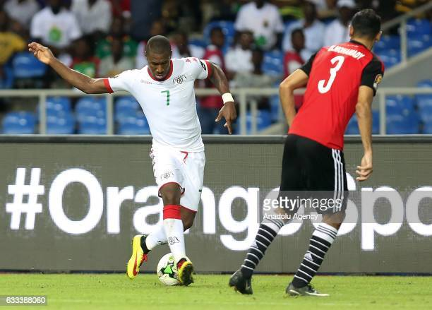 Prejuce Nakoulma of Burkina Faso in action against Ahmed Elmohamady of Egypt during the 2017 Africa Cup of Nations semifinal football match between...
