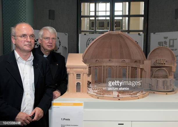 Prelate Ronald Rother and architect Peter Sichau stand next to the winning design for the redesign of the interior of St Hedwig's Cathedral by...