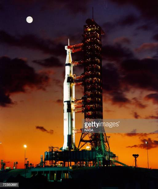 A prelaunch twilight photo of the The Apollo 11 Saturn V space vehicle It lifted off July 16 1969 from Kennedy Space Center in Florida The space...
