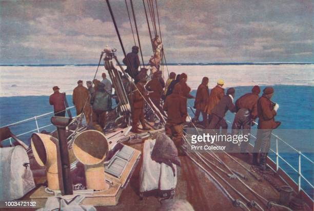 Prelude to Adventure. Captain Scott's ship, the Terra Nova, entering the pack ice of the South Polar regions', circa 1910-192, From Shipping Wonders...