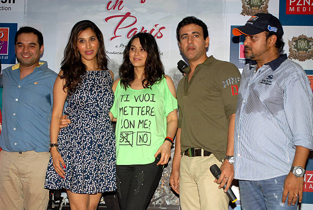 Prem Raj Sophie Chaudhary Preity Zinta Rhehan Malliek and Sajid at promotion of upcoming film Ishq in Paris in R city Mall on May 12 2013 in Mumbai...