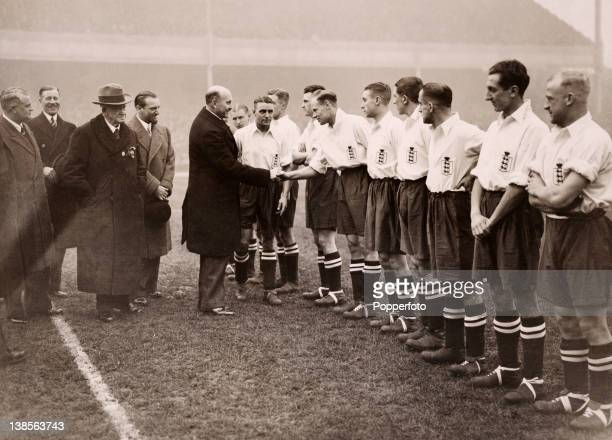 Prematch formalities prior to the International between England and Italy at Highbury Stadium in London 14th November 1934 In this photograph the...