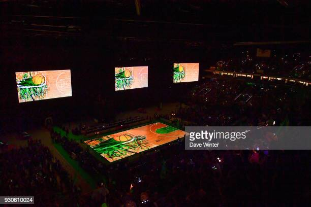 Prematch laser show during the Jeep Elite match between Nanterre and Lyon Villeurbanne at U Arena on March 11 2018 in Nanterre France
