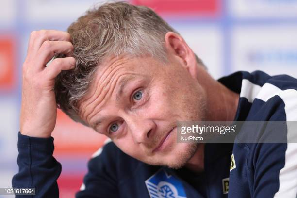Prematch pressconference head coach of FC Molde Ole Gunnar Solskjor in Saint Petersburg Russia on August 22 2018
