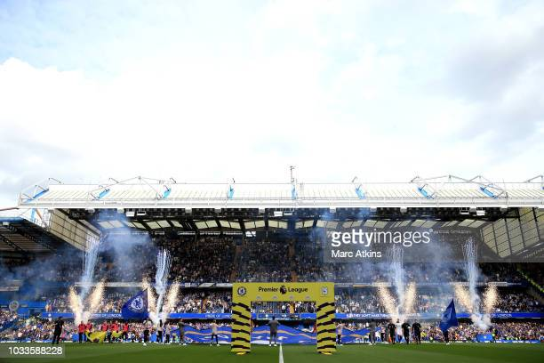 Prematch pyrotechnics ahead of the Premier League match between Chelsea FC and Cardiff City at Stamford Bridge on September 15 2018 in London United...
