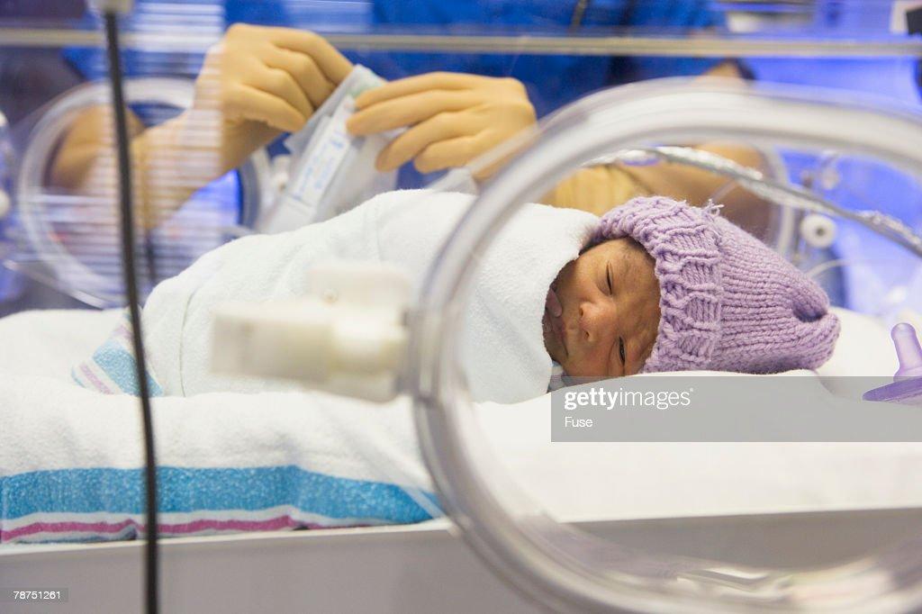 Premature Baby in Incubator : Stock Photo