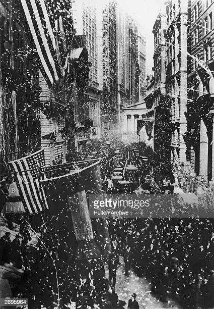 A premature celebration of the WWI Armistice in New York City on November 7 before the ceasefire became official on November 11
