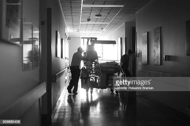 Premature newborn baby being transported down the halls of the Children's Hospital Westmead to the Neonatal Intesive Care Unit on May 24 2015 in...