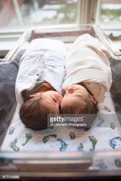 Premature Newborn Fraternal Twins in Hospital Sleep Together in Plastic Crib