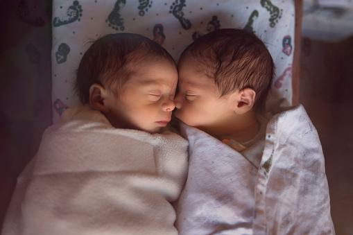 Premature Newborn Fraternal Twins in Hospital Sleep Together in Plastic Crib - gettyimageskorea