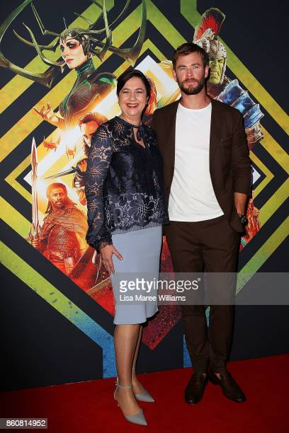Premier Annastacia Palaszczuk and Chris Hemsworth arrive for the Australian Premiere of Thor Ragnarok on October 13 2017 in Gold Coast Australia