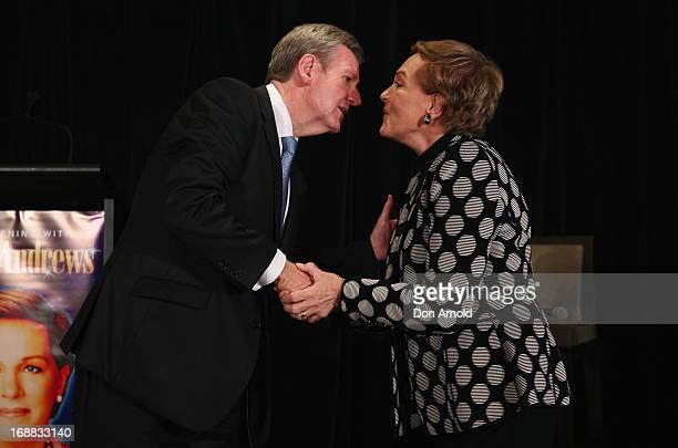 Premier Barry O'Farrell greets Julie Andrews upon her arrival at a press conference ahead of her national tour of An Evening with Julie Andrews on...