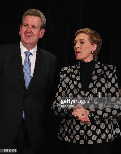Premier Barry O'Farrell introduces Julie Andrews to the media at a press conference ahead of her national tour of An Evening with Julie Andrews on...