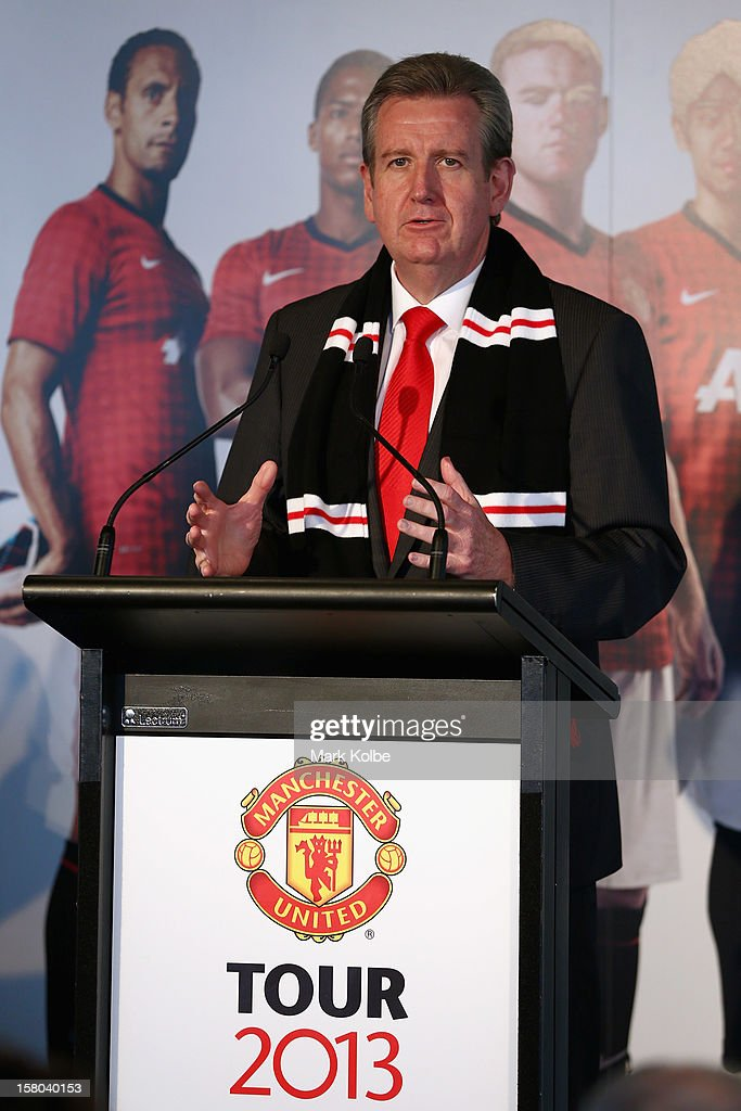 Premier Barry O'Farrell speaks to the media during a press conference at Museum of Contemporary Art on December 10, 2012 in Sydney, Australia. Manchester United will play an A-League All-Stars match in Sydney on July 20, 2013.