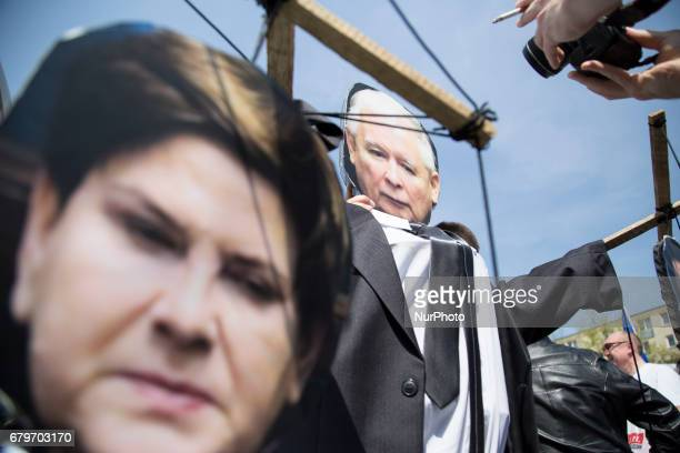 Premier Beata Szydlo as a puppet of ruling party leader Jaroslaw Kaczynski during Pro European march in Warsaw on May 6 2017