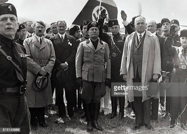Premier Benito Mussolini of Italy and Chancellor Adolf Hitler of Germany pictured as they met in Venice recently where it is believed the two...
