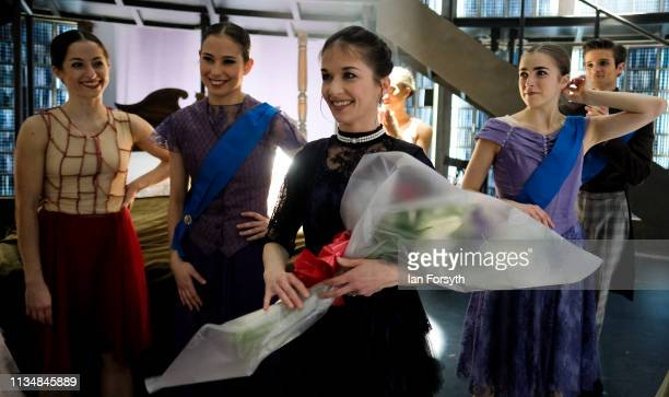 Premier Dancer Pippa Moore reacts as she is presented with flowers as the curtain comes down at the end of the World Premier of Northern Ballet's...