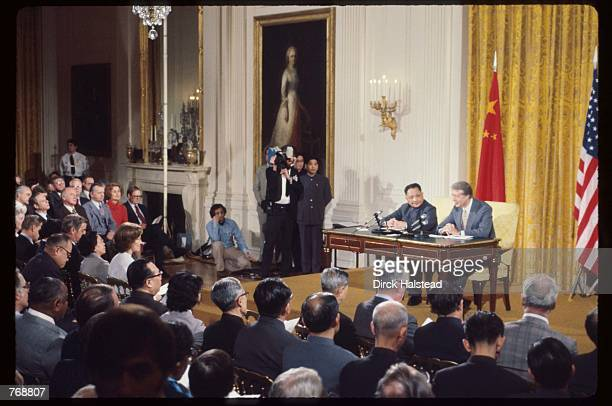 Premier Deng Xiaoping and President Jimmy Carter meet with the press January 31 1979 in Washington DC Xiaoping and President Carter met in Washington...