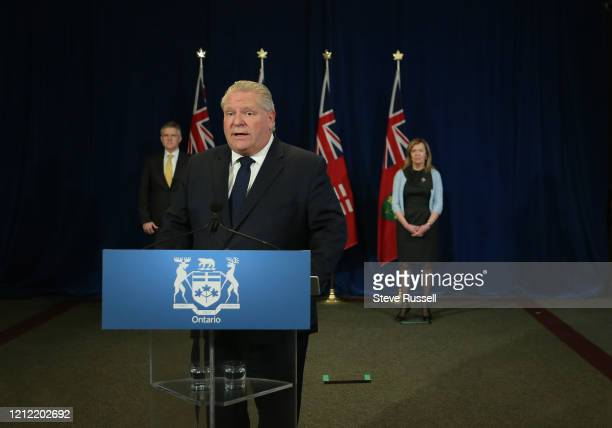 Premier Doug Ford along with Health Minister Christine Elliott and Minister of Finance Rod Phillips take questions during the provinces daily...