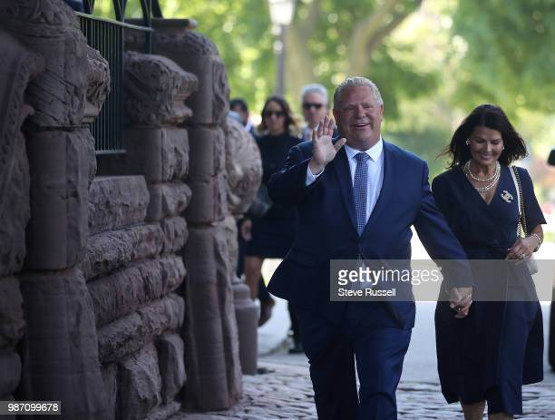 TORONTO ON JUNE 29 Premier Elect Doug Ford arrives at Queen's Park with wife Karla to be sworn in as the Premier of Ontario in Toronto June 29 2018
