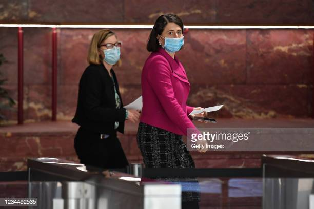 Premier Gladys Berejiklian and Chief Health Officer Dr Kerry Chant arrive at a press conference to provide a COVID-19 update in Sydney. Friday,...