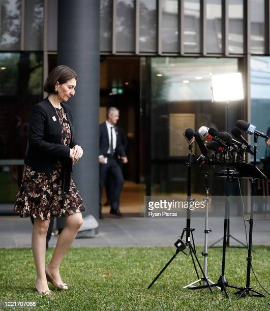 Premier Gladys Berejiklian arrives for a media briefing on April 29 2020 in Sydney Australia NSW Premier Gladys Berejiklian has announced that...