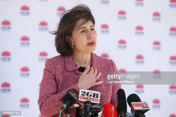 Premier Gladys Berejiklian attends a press conference and COVID-19 briefing on June 25, 2021 in Sydney, Australia. Residents who live or work in the...