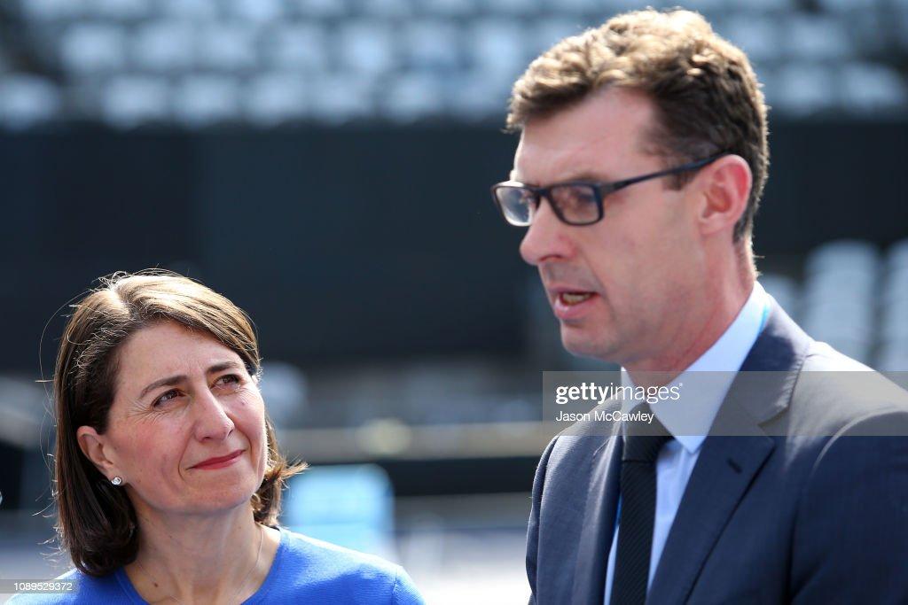 NSW Premier Gladys Berejiklian listens to Tennis NSW CEO