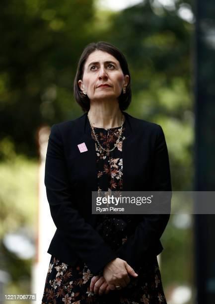 Premier Gladys Berejiklian looks on during a media briefing on April 29 2020 in Sydney Australia NSW Premier Gladys Berejiklian has announced that...
