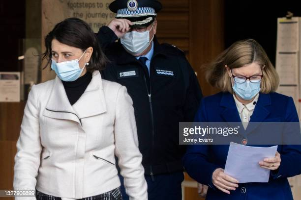 Premier Gladys Berejiklian, NSW Chief Health Officer Dr Kerry Chant and NSW Police Deputy Commissioner Gary Worboys arrive for a COVID-19 update...
