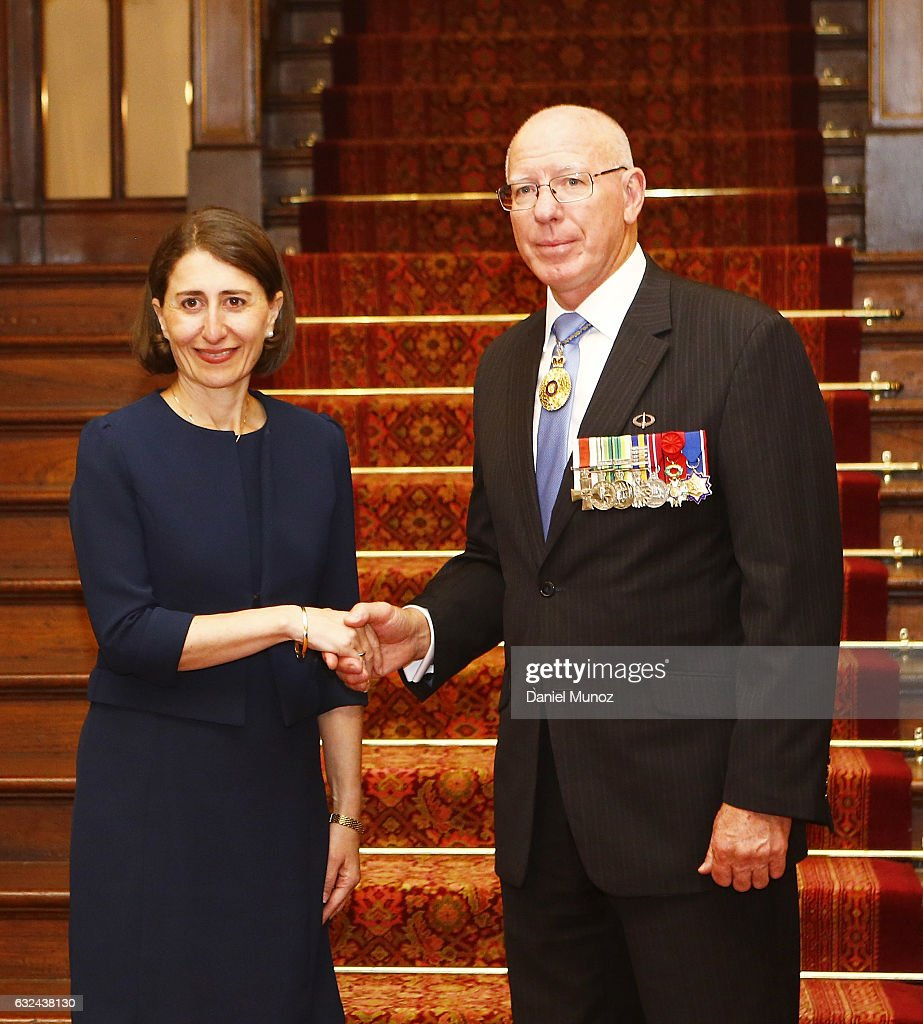 Premier Gladys Berejiklian poses for a picture with NSW Governor