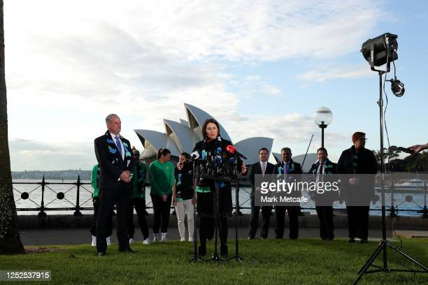 Premier Gladys Berejiklian speaks to the media during a media opportunity following the successful bid for Australia New Zealand to host the 2023...
