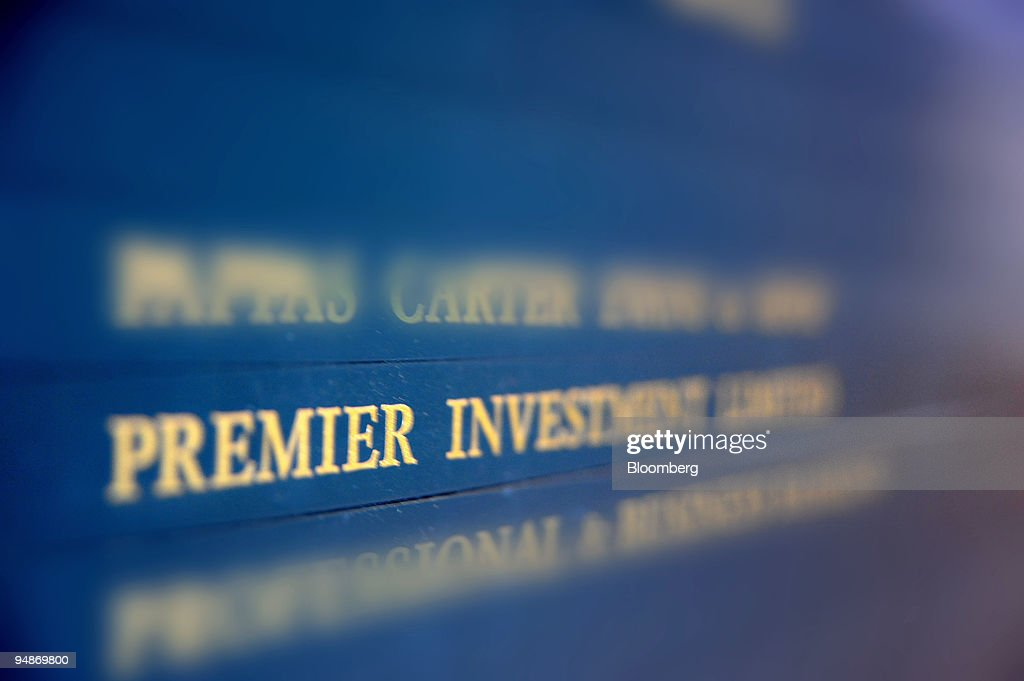 premier investments ltd appears on a directory board in the