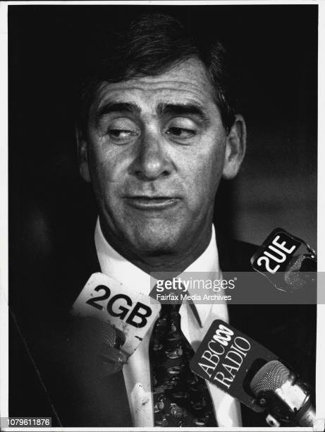 NSW Premier John Fahey addresses the media outside the state office block on return from holidays to face questions from the Terry Griffiths...