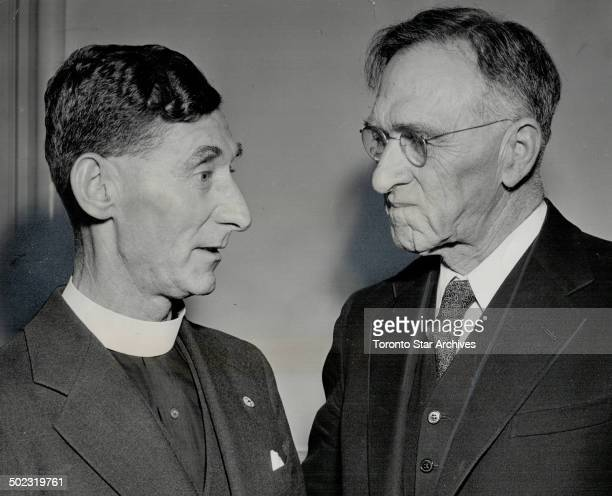 Premier Kennedy is shown chatting with Rev George F Banks rector of the Church of St John the Baptist Dixie who concluded the swearingin ceremonies...