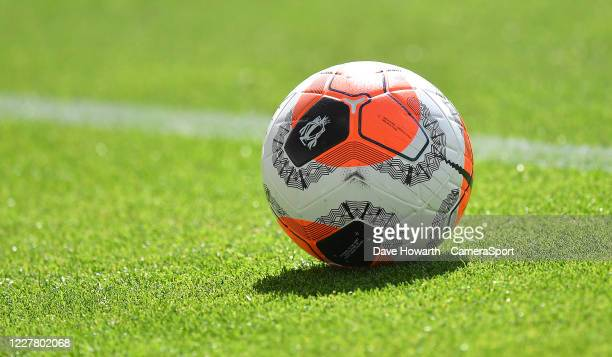 Premier League ball during the Premier League match between Burnley FC and Brighton Hove Albion at Turf Moor on July 26 2020 in Burnley United Kingdom