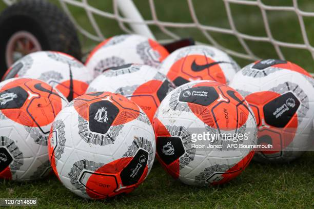 Premier League balls during a training session at the Vitality Stadium on February 19 2020 in Bournemouth England