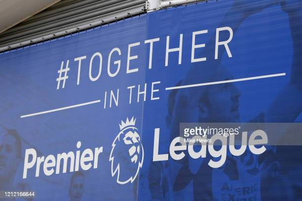 Premier League banner on display at the Amex Stadium. The Brighton & Hove Albion v Arsenal Premier League game has been cancelled due to Covid-19 on...