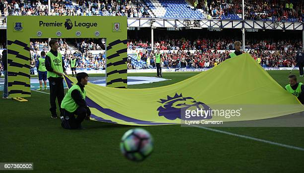 Premier League branding during the Premier League match between Everton and Middlesbrough at Goodison Park on September 17 2016 in Liverpool England